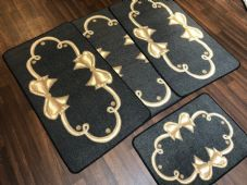 ROMANY GYPSY WASHABLES SET OF TOURER SIZE 67X120CM MATS/RUGS CHARCOAL/BEIGE BOWS